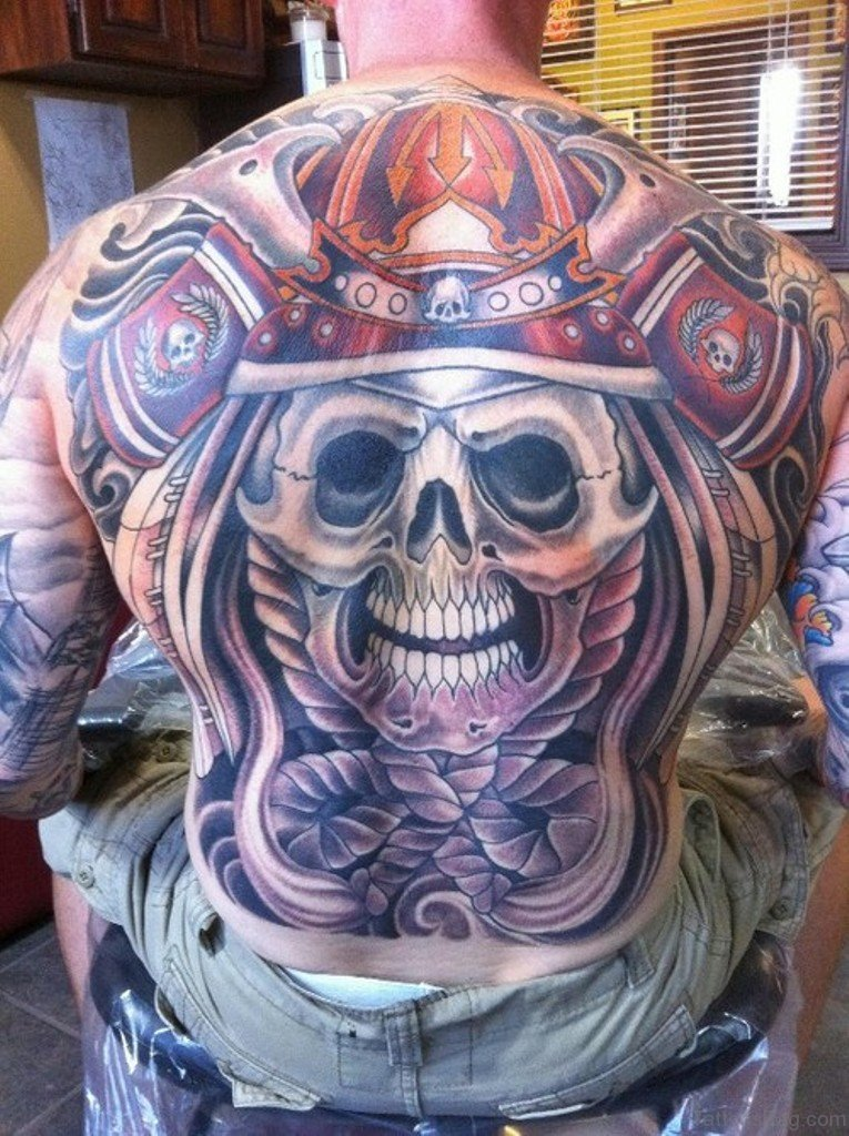80 cool skull tattoos for back for Color skull tattoos