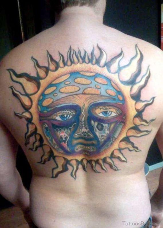 Colored Sun Tattoo Design