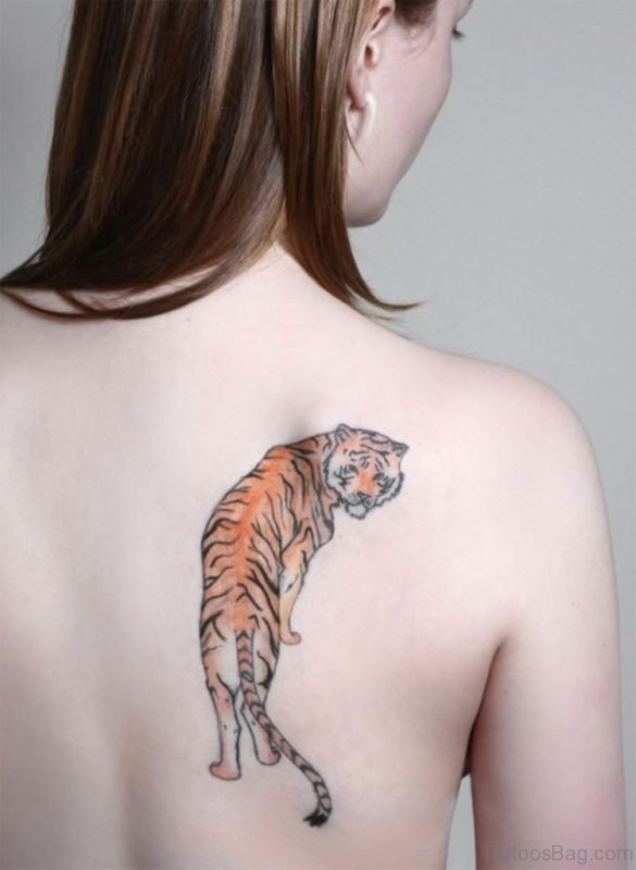 Awesome Tiger Tattoo On Back