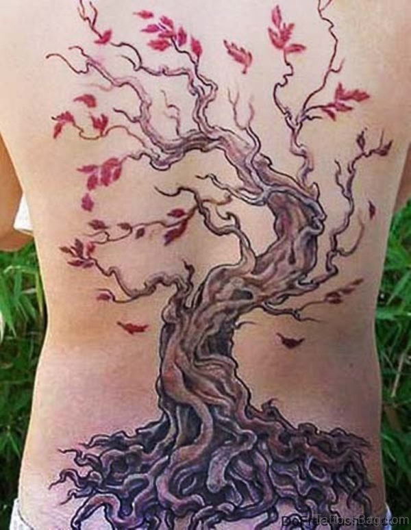Colored Tree Tattoo Design