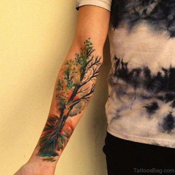 Colored Tree Tattoo On Wrist