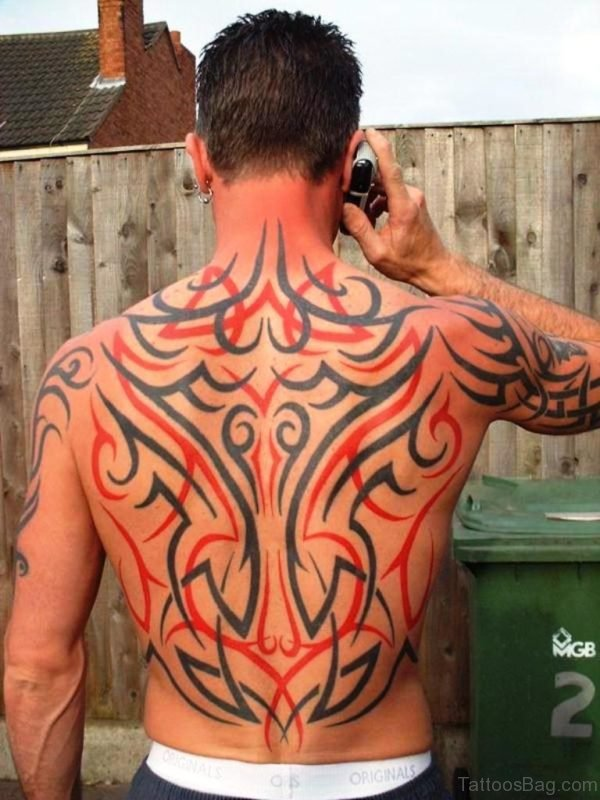 Colored Tribal Tattoo On Back