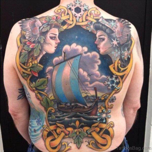 Colored Viking Girls  Tattoo