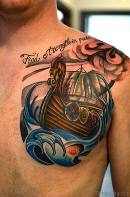 Colored Viking Ship Tattoo Design