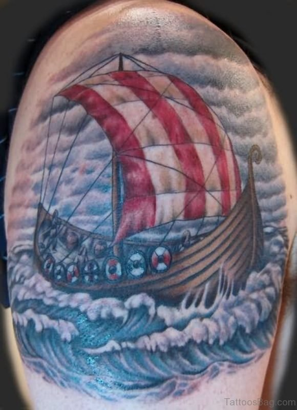 Colored Viking Ship Tattoo On Shoulder
