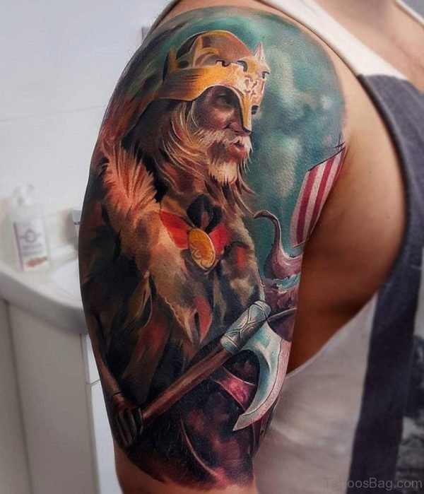 Colored Viking Tattoo On Right Shoulder
