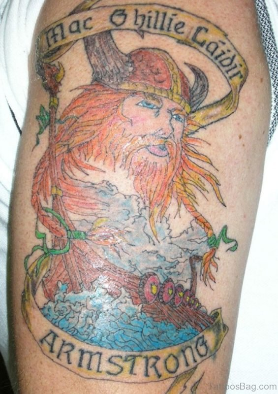Colored Viking Tattoo On Left Shoulder
