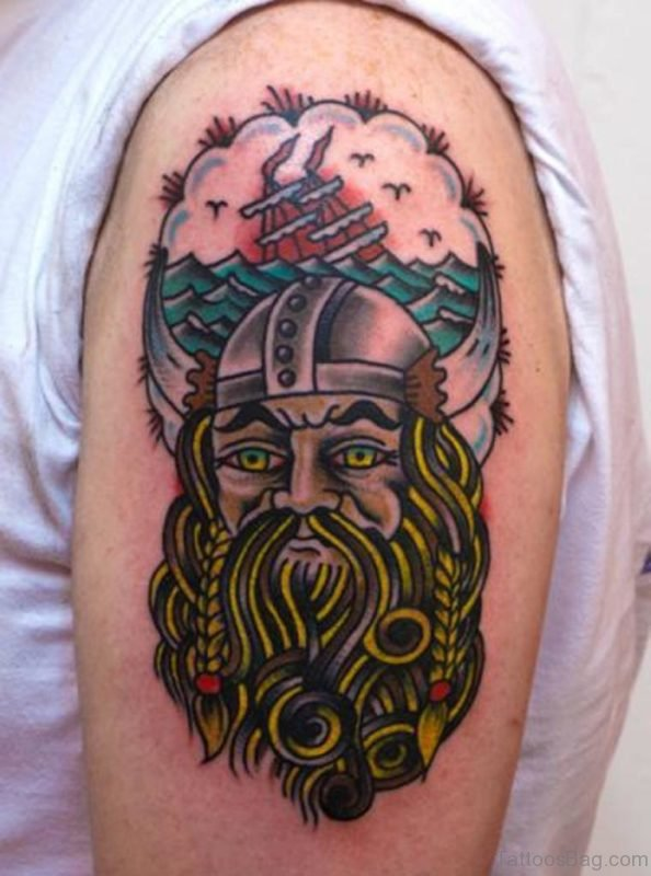 Colored Viking Tattoo On Shoulder