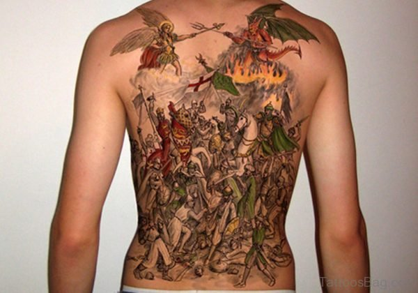 Colored Viking Warriors Tattoo