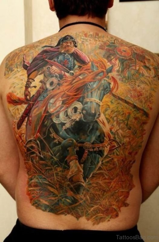 Colored Warrior Tattoo On Back