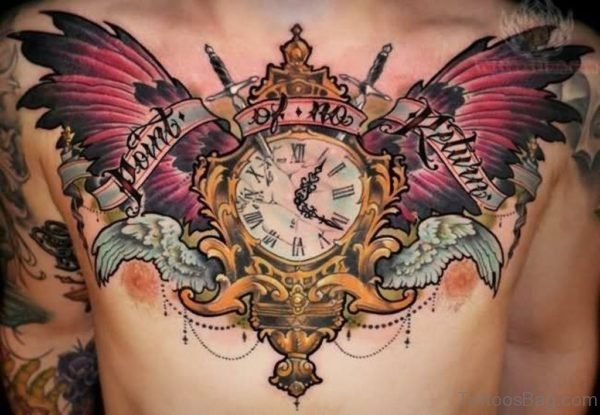 Colored Wings and Clock Tattoo