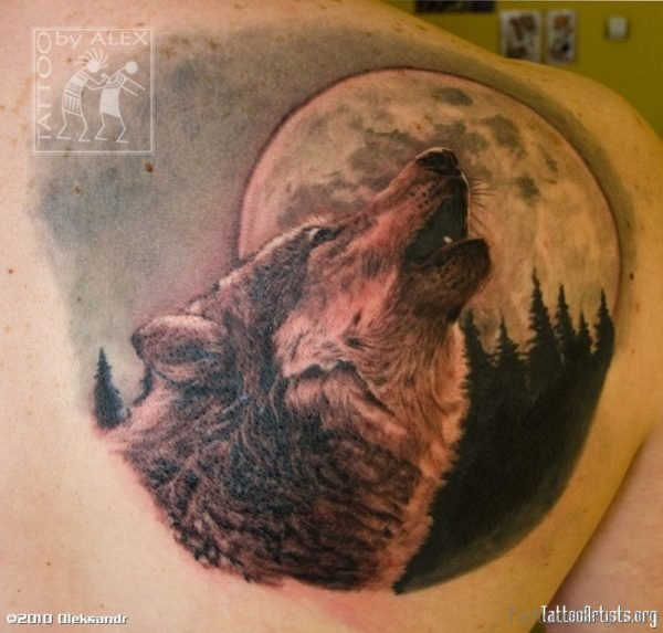 Colored Wolf And Moon Tattoo