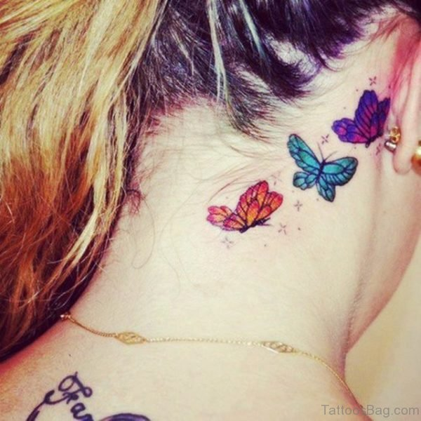 Colorful Three Butterflies Tattoo