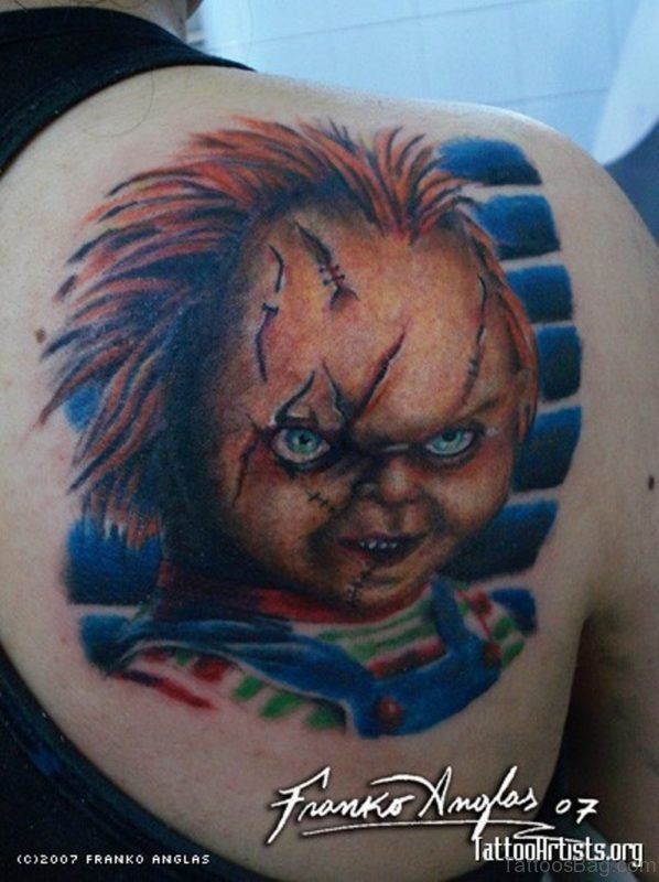 3D Horror Chucky Face Tattoo