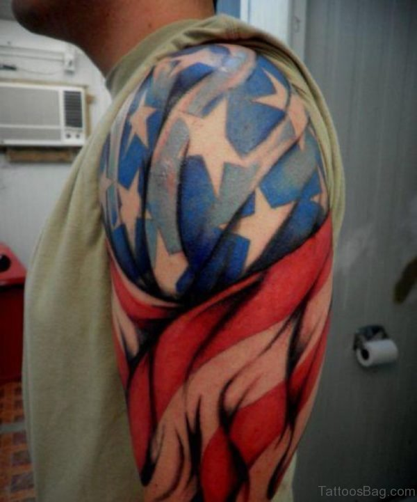 Colorful American Flag Tattoo