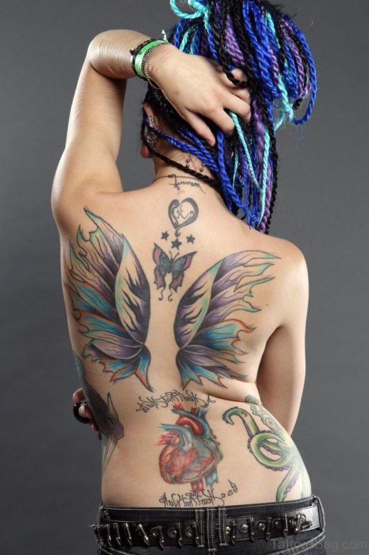 Colorful Angel Wings Tattoo For Girls