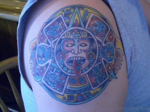 Colorful Aztec Tattoo On Right Shoulder