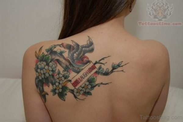 Colorful Birds Tattoo On Back