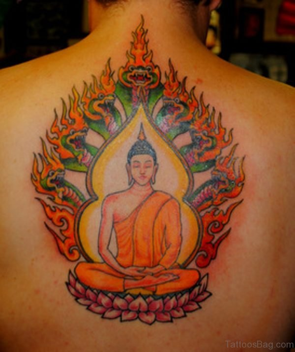 Colorful Buddha On Lotus Tattoo On Man Upper Back