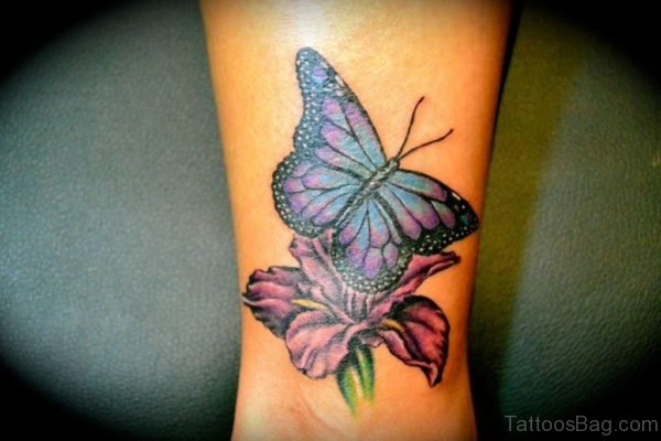 Colorful Butterfly And Flowers Tattoos On Wrist