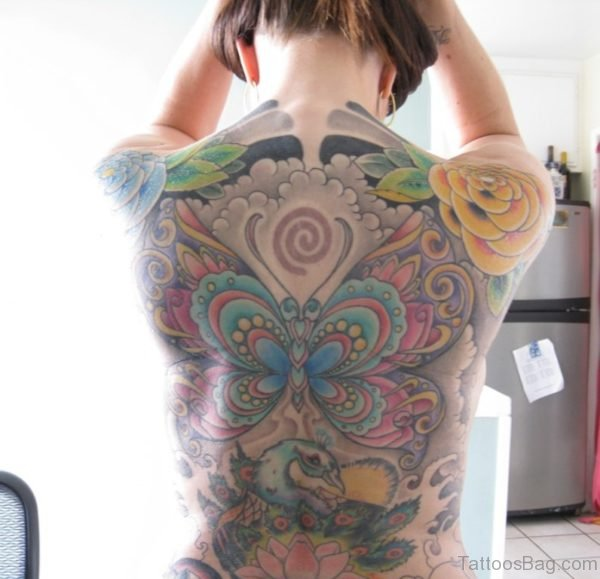 Colorful  Butterfly Tattoo On Full Back