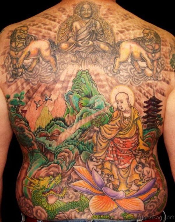 Colorful Buddhist Tattoo Design