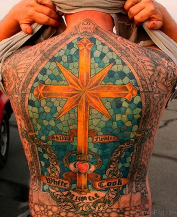 Colorful Cross Tattoo On Full Back