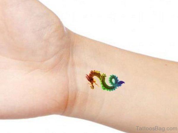 Colorful Dragon Tattoo On Wrist