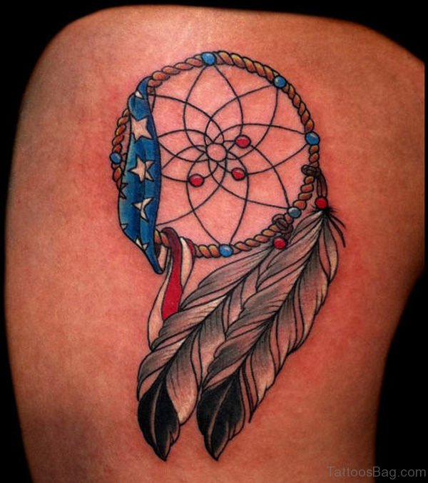 Colorful Dream Catcher Tattoo