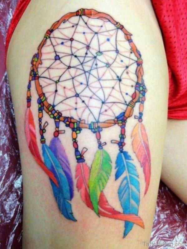 Colorful Dreamcatcher Tattoo Design