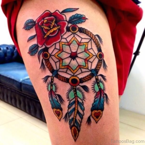 Colorful Dreamcatcher Tattoo On Thigh