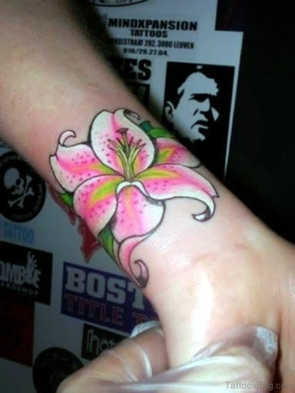 Colorful Flower Tattoo On Wrist