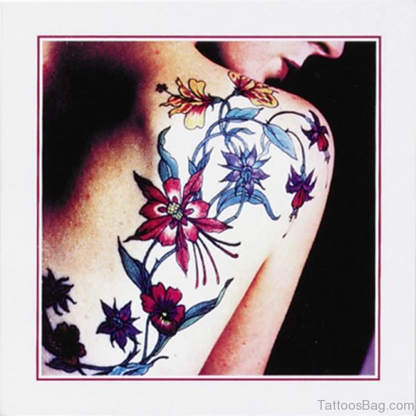 Colorful Flower Vine Tattoo