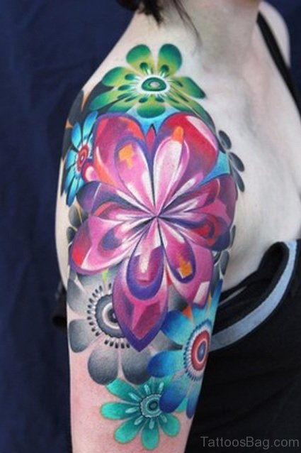 Colorful Half Sleeves Shoulder Tattoo