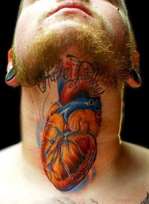 Colorful Heart Neck Tattoo