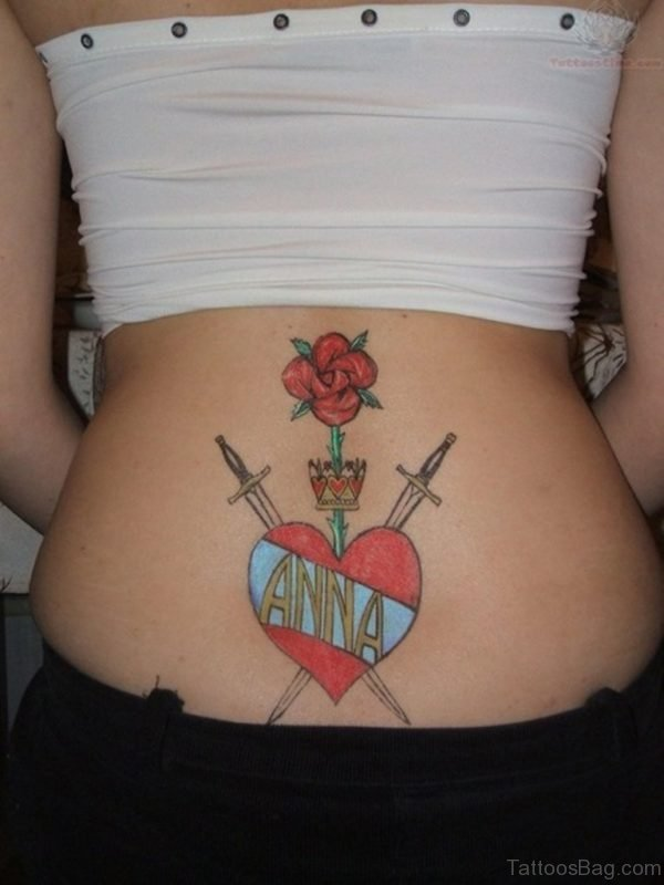 Colorful Heart Tattoo for Girls on Lower Back