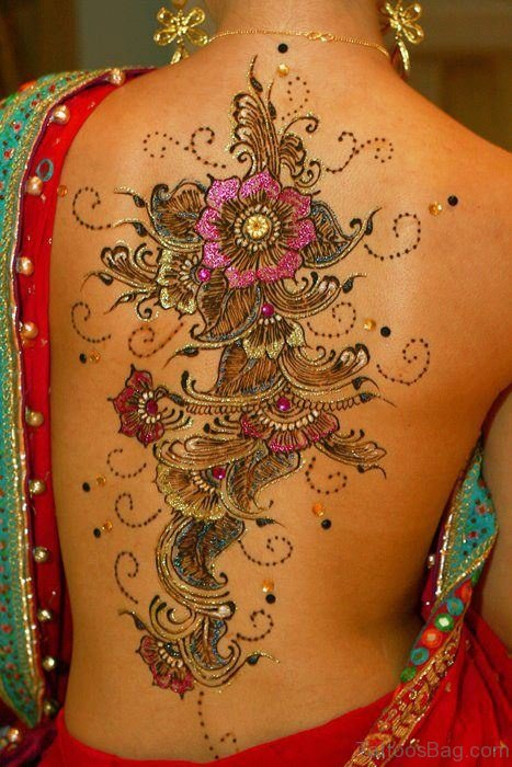 Colorful Henna Tattoo On Back