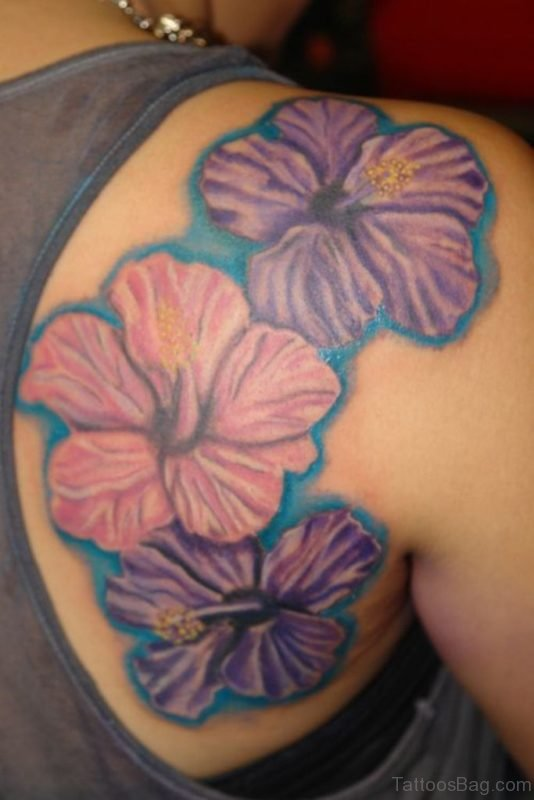 Colorful Hibiscus Flower Tattoo