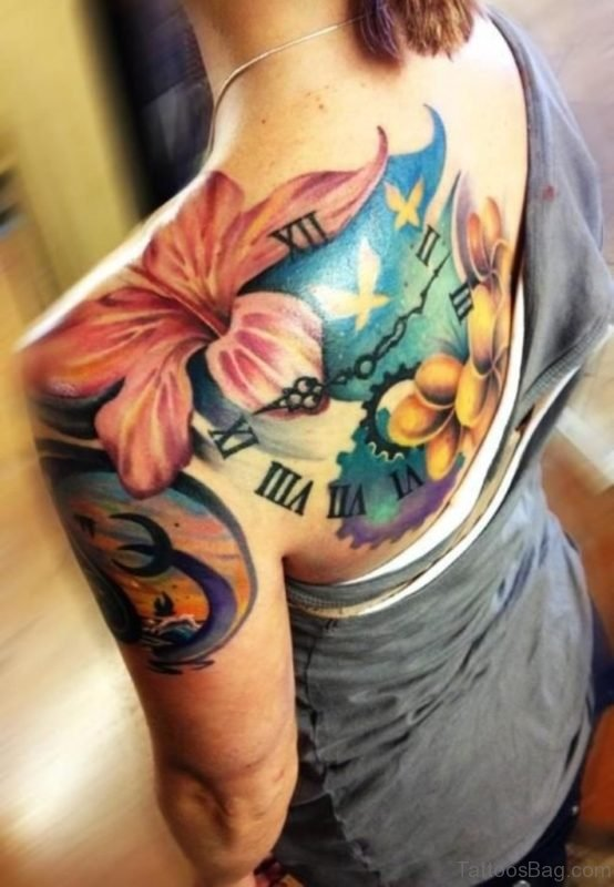 Colorful Hibiscus Flowers Tattoo