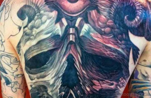 Colorful Horror Tattoo On  Back