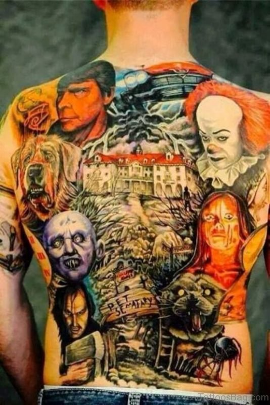 Colorful Horror Tattoo On Full Back