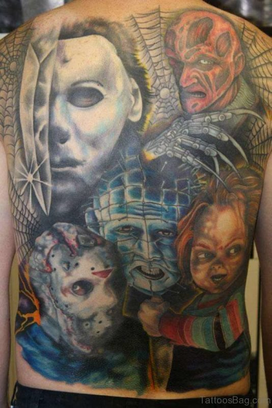 Colorful Horror Tattoo On Whole Back