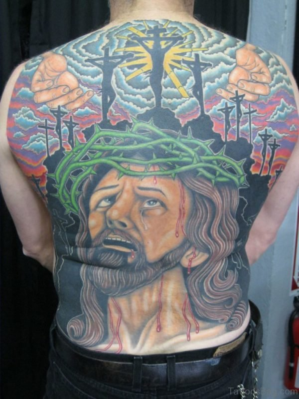 Colorful Jesus Tattoo