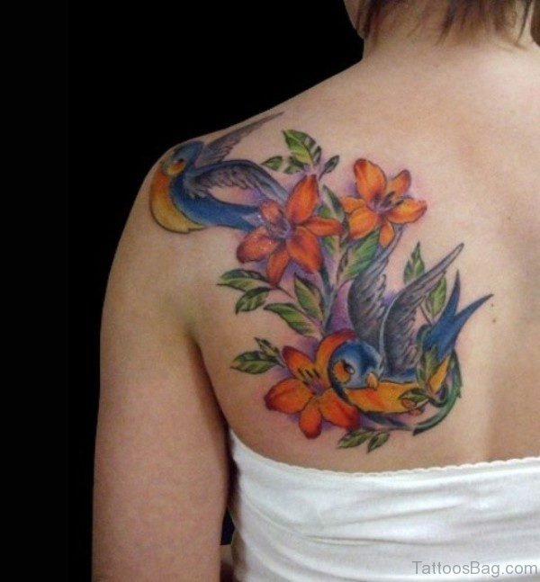 Colorful Lily Tattoo