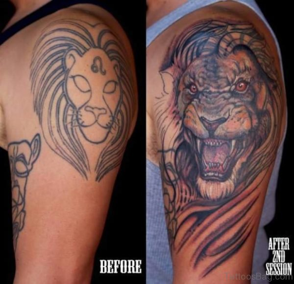 Colorful Lion Tattoo