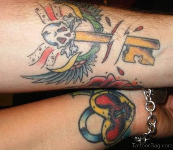 Colorful Lock And Key Tattoo On Wrist