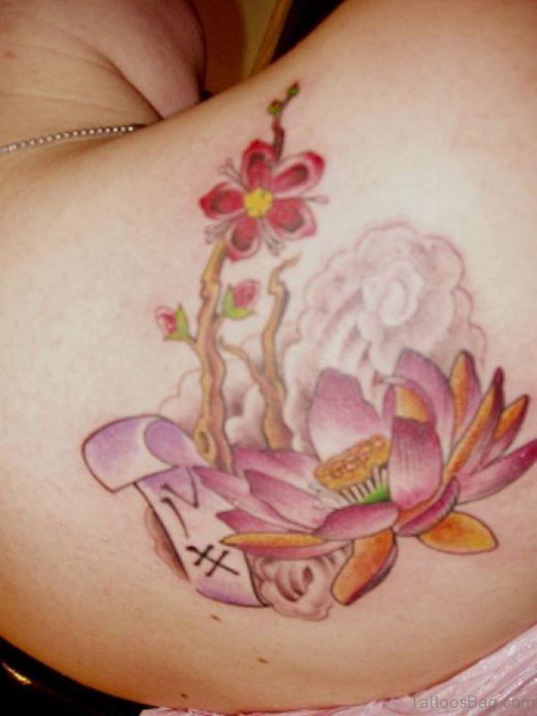 Colorful Lotus Flower Tattoo