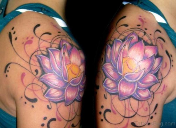 Colorful Lotus Flower Tattoo Design