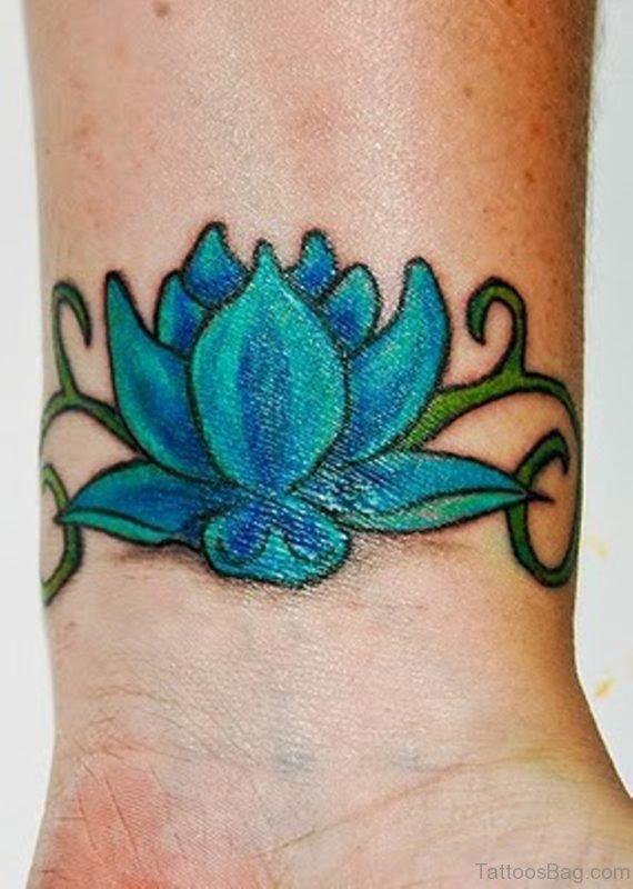 Colorful Lotus Tattoo On Wrist