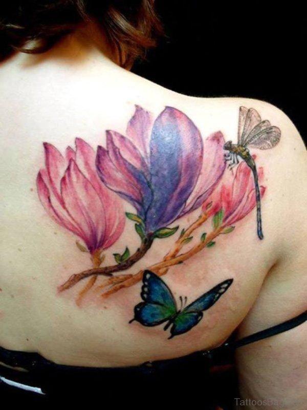 Colorful Magnolia Flower Tattoo